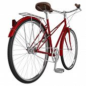 Leather saddle vintage bike with gears and chrome accents. 3D graphic object on white background isolated poster