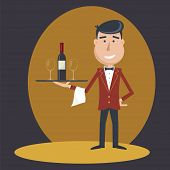 Waiter with wine bottle and wine glass and tray on outstretched arm. Simple flat vector.EPS 10. poster