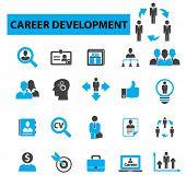 Career development icons concept. Job, cv, job search, human resources, career opportunities, career path, recruitment. Vector illustration set. poster