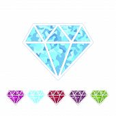 Set of different colored gemstones.Diamond ruby emerald amethyst sapphire. Vector illustration. poster