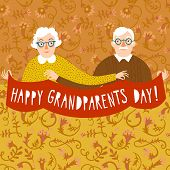 Hand drawn cartoon grandparents holding ribbon. Happy grandparents day poster. Vector illustration. poster