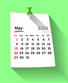 Flat design calendar for may 2016 on sticky note attached with green pin. Sundays first. Vector illustration poster