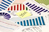 Sell decission on charts and graphs with sticker poster