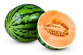 Fresh Whole Juicy sliced Watermelon wich flavored melons. isolated on white background. poster