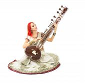 Beautiful Young Redhead Sexy Woman in Traditional Indian Sari Clothing with Oriental Jewelry and Bridal Makeup Playing Raga the Sitar. Beautiful hot Bollywood Girl. Eastern Music poster