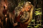 Scandinavian girl with fur skins on a forest background poster