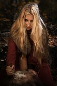 Scandinavian witch pythoness with runes on a forest background poster