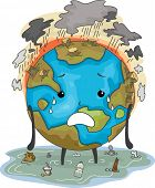 Mascot Illustration Featuring the Earth Suffering from Flooding Air Pollution and Deforestation poster