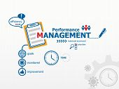 Performance management and notebook. Hand writing Performance management with blue marker t-shirt