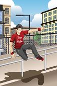 A vector illustration of parkour athlete jumping over a handrail poster