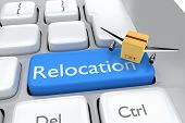 Keyboard button with the word relocation and box with wing poster