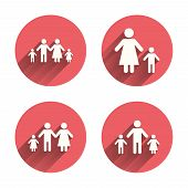Family with two children icon. Parents and kids symbols. One-parent family signs. Mother and father divorce. Pink circles flat buttons with shadow. Vector poster