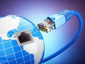 Internet global comunication concept. Earth and ethernet cable on blue background. 3d poster