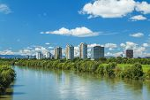 River Sava and Zagreb modern skyline, summer midday poster