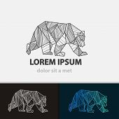 Creative stylized icon bear. Vector idea ferocious beast. Triangle shape with lines. poster