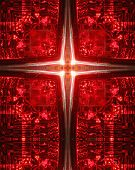 kaleidoscope cross: car tail light transluscent red poster