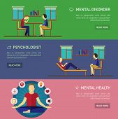 Mental disorder psychological treatment with principles of regaining balance flat horizontal banners set abstract isolated vector illustration poster