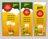 Beer glasses and fresh hops on banners set. Original backdrops with beer and foam. Vector illustration. poster