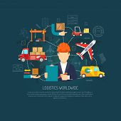 Worldwide logistics company services operator coordinating international cargo transportation and delivery flowchart background poster abstract vector illustration poster