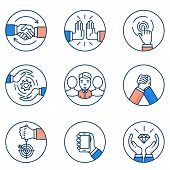 Vector set of customer relationship management and business negotiation icons. Flat linear pictograms and infographics design elements poster