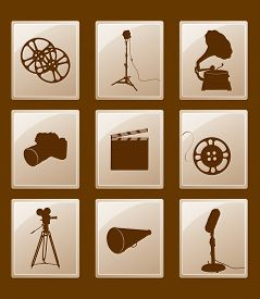 Set Of Icons With Retro Silhouettes; Gramophone, Reflector, Film, Camera, Microphone, Megaphone...