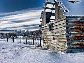 Abandon Farm Building Photo-Art In Snowy Canada