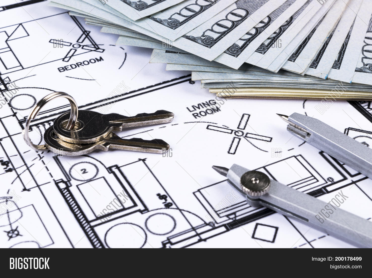 Stack money key lying image photo free trial bigstock stack of money with key lying on construction drawing of house blueprint house plan concept money malvernweather Images