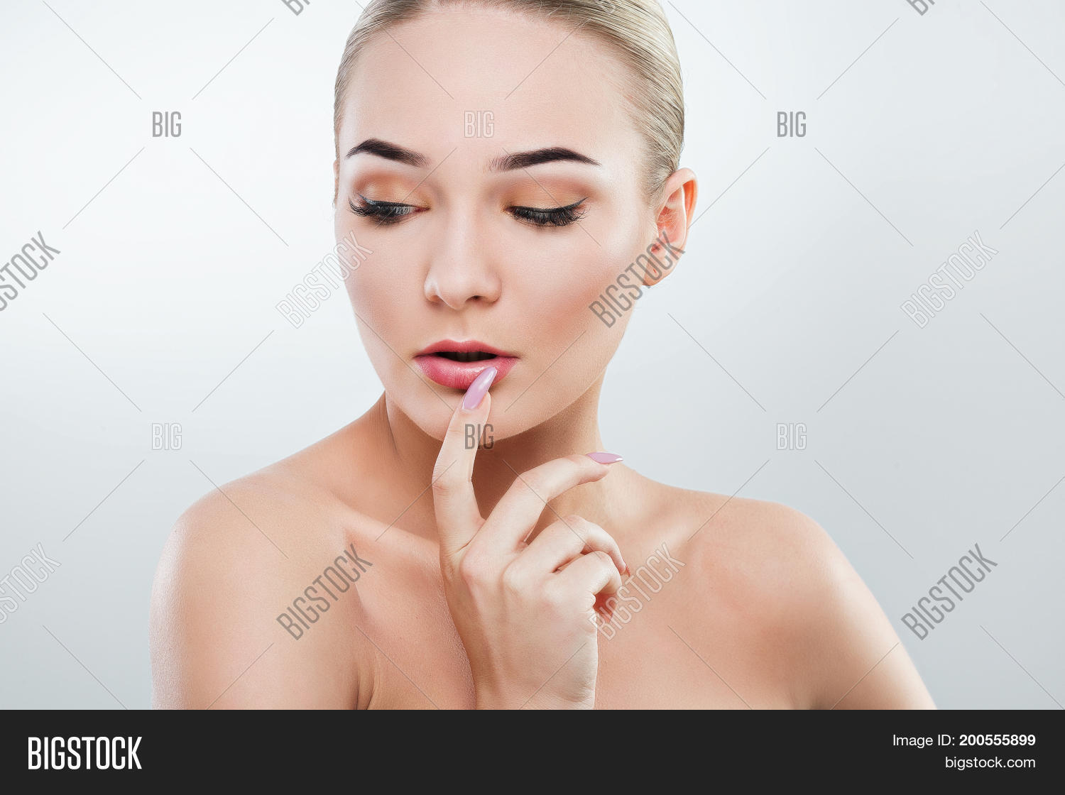 Visible, not cute naked girl mouth lips