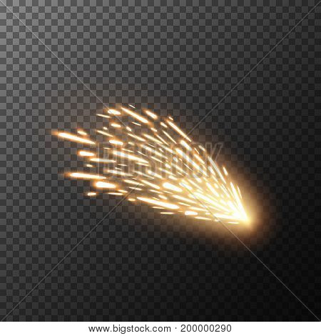 Fiery sparks on transparent background. Glow special effect. EPS 10.