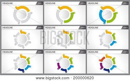 Graphics of 3 and 6 arrows of different colors forming a cycle. Each graph shows step by step how the cycle is completed. Elements for info graphics, use in presentation. Vector image