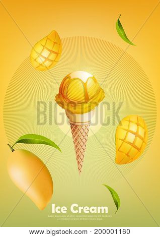 Ice cream in the cone, Pour mango syrup and a lot of mango background, transparent Vector