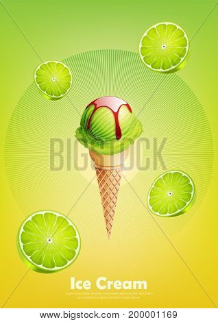 Ice cream lime in the cone, Pour strawberry syrup and a lot of lime background, transparent Vector