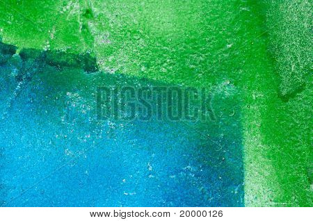 Abstract Geen And Blue Stained Paint