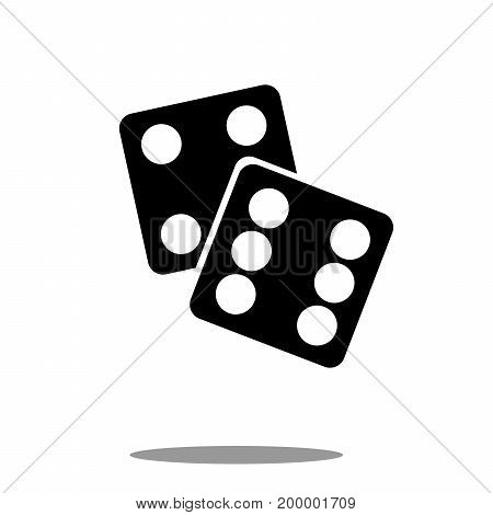 Dice icon black silhouette on white background Vector Illustration