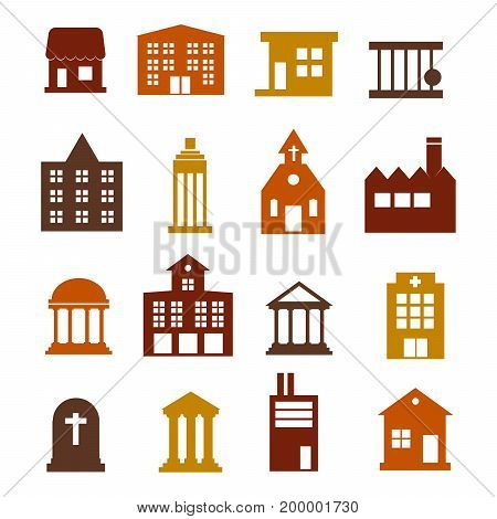 Buildings icon set for web sites and user interface Flat design Vector Illustration