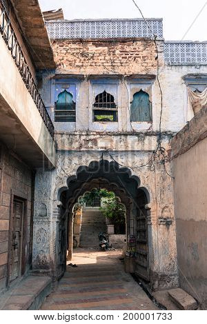 JODHPUR RAJASTHAN INDIA - MARCH 04 2016: Vertical picture of traditional indian architecture in Jodhpur the blue city of Rajasthan in India.