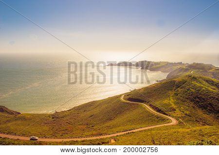 American tradicional landscape and Ocean Pacific California CA EUA