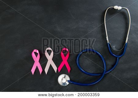 Breast Cancer Health Care With Medical Stethoscope