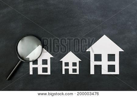 Paper House Model Presenting On Black Chalkboard