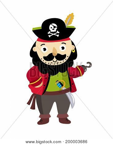 Pirate man character in cocked hat icon. Children drawing of pirate concept vector illustration isolated on white background.