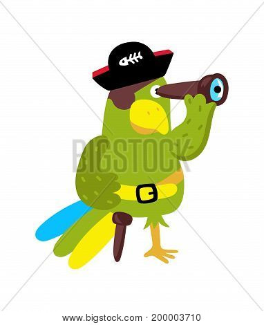 Parrot in cocked hat icon. Children drawing of pirate concept vector illustration isolated on white background.