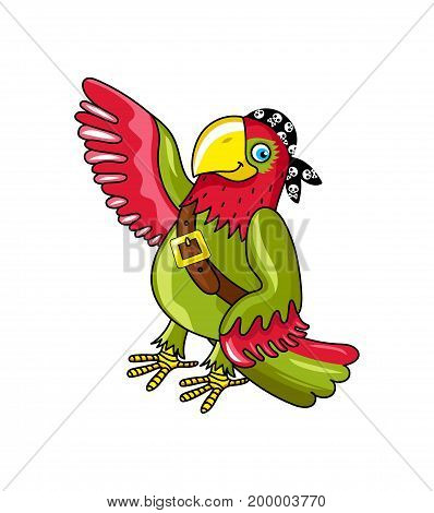 Pirate parrot in bandana icon. Children drawing of pirate concept vector illustration isolated on white background.