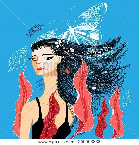 Vector beautiful portrait of a girl with foliage and butterfly on blue