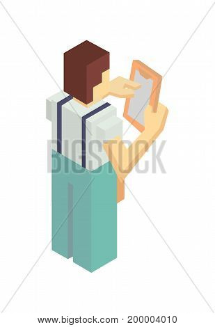 Delivery courier with invoice isometric icon. Local shipping service vector illustration isolated on white background.