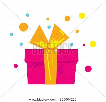 Gift box isolated element. Birthday card design symbol, surprise party icon, happy holiday vector illustration.