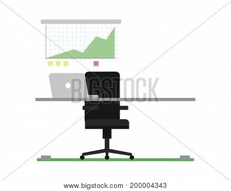 Business workplace with laptop icon. Modern office workspace concept vector illustration in flat design.