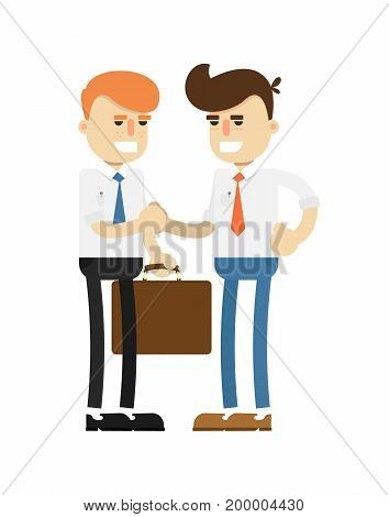 Business meeting concept with smiling men icon. Business teamwork and project realization vector illustration in flat design.