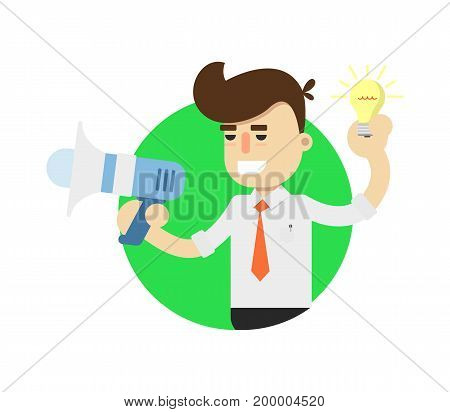 Idea generation icon with businessman. Business project and realization vector illustration in flat design.