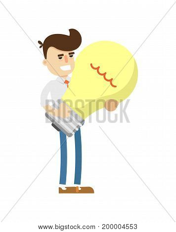 Businessman with big light bulb icon. Business project and idea generation vector illustration in flat design.