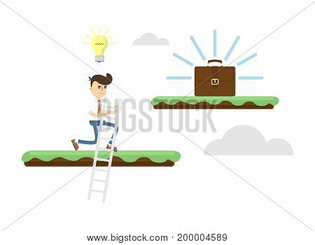 Idea generation concept with businessman. Business project and realization vector illustration in flat design.
